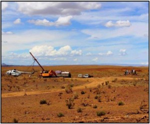 Drilling at Altan Nar, southwest Mongolia. Source: Erdene Resource Development Corp.