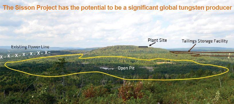 The proposal site of the Sisson tungsten-molybden um mine 60 km northwest of Fredericton, New Brunswick. Source: Northcliff Resources Ltd.