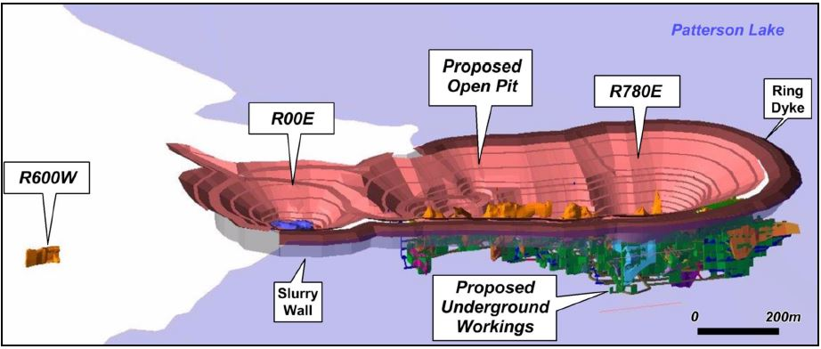 The proposed mining plan for Fission Uranium's Patterson Lake South Project in the Athabasca Basin of northern Saskatchewan. Source: Fission Uranium Corp.