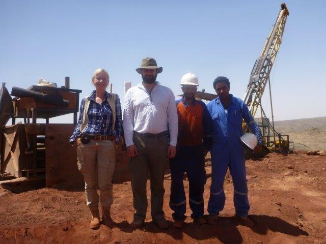James Yates, geologist; Jasser Haroun, drill assistant; Mohamed Raslan, geology assistant, and Danae Voormeij, Exploration Manager, at Hamama gold-rich VMS project in Egypt's Central Eastern Desert. Photo courtesy Alexander Nubia International Inc.