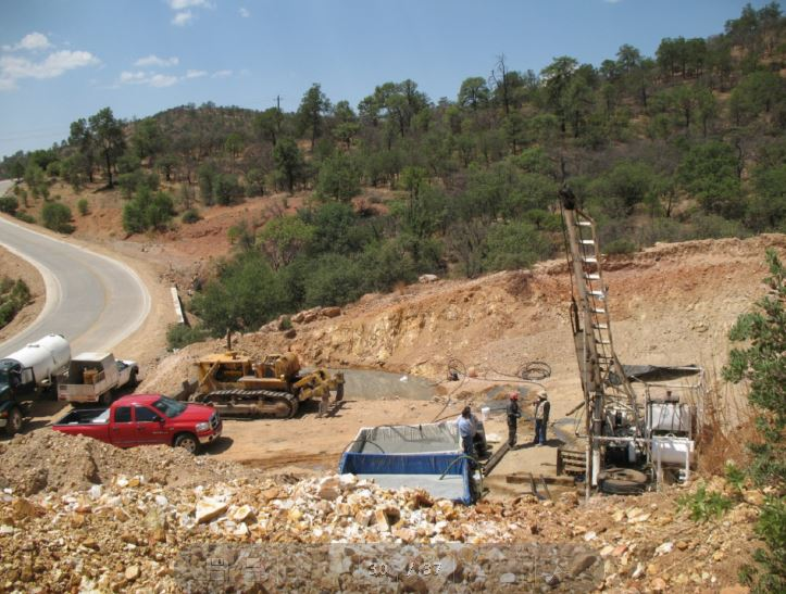 Drilling operations at the Sandra Escobar Project in Durango State, Mexico. Source: Canasil Resources Inc.