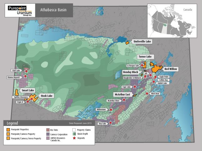 Map of the Athabasca Basin, northern Saskatchewan. Source: Purepoint Uranium Group Inc.