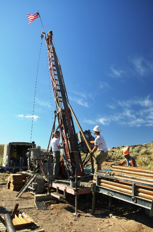 Diamond drilling at the Grassy Mountain Gold Project in eastern Oregon. Source: Calico Resources Corp.