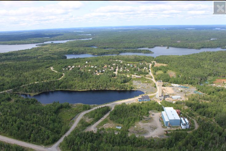 Madsen headframe, mill, tailings facility and mine village mine village located 16 km west of Red Lake, Ontario. Source: Pure Gold Mining Inc.