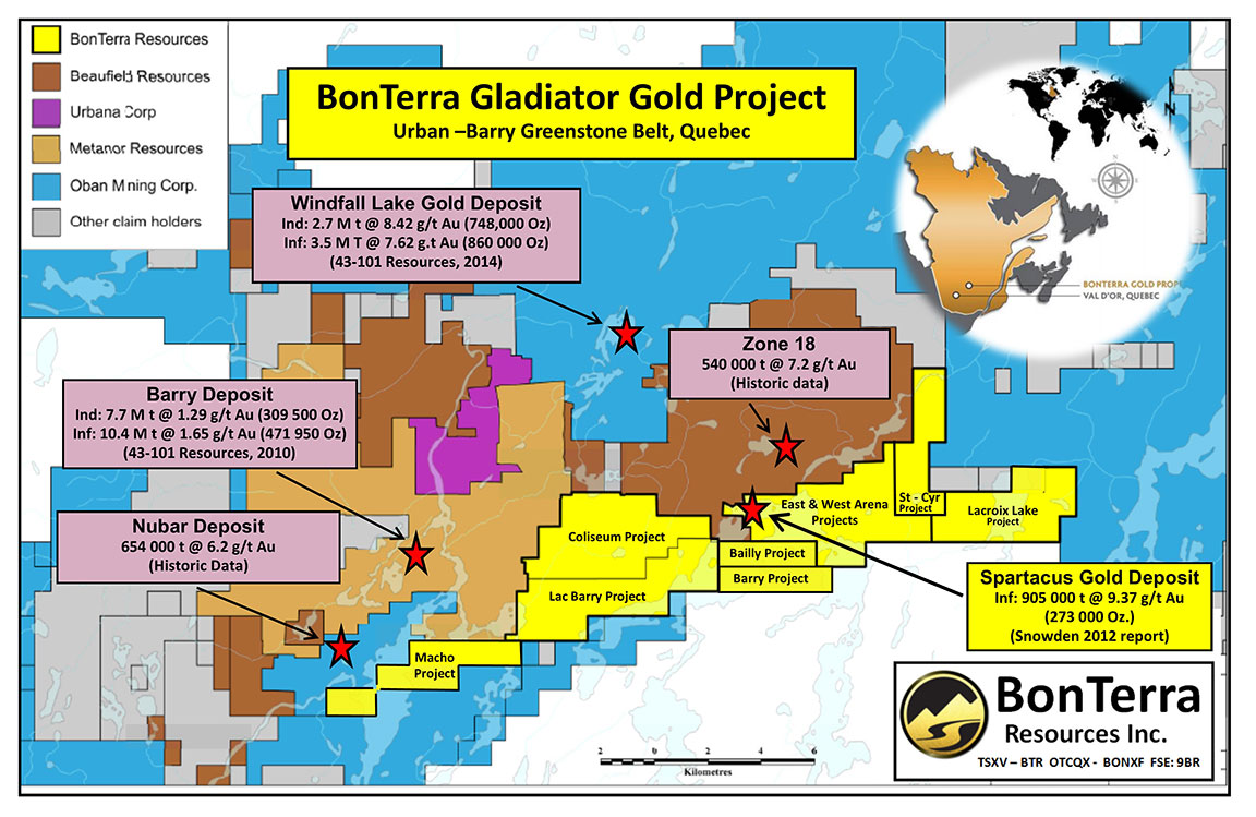 Gladiator Gold Project claim map. Source: Bonterra Resources Inc.