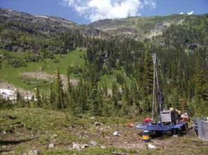Diamond drilling on the Fox tungsten property located 70 km northeast of 100 Mile House, south-central Cariboo region, British Columbia. Photo courtesy Happy Creek Minerals Ltd.