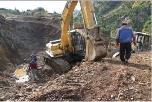 Trenching to expose the Big M vein at the Bow property 50 km north of Stewart, British Columbia. Source: Decade Resources Ltd.