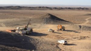 Drilling at the Erdene Resource Development Bayan Khundii gold project in southwest Mongolia. Source: Erdene Resource Development Corp.