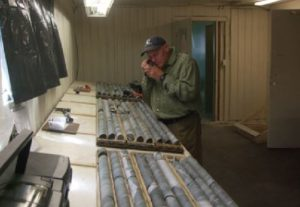 Examining diamond drill core at the Sugar Zone deposit at Harte Gold's project, northern Ontario. Source: Harte Gold Corp.