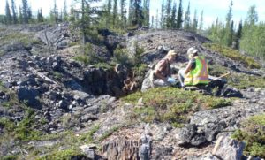 Sampling on the Southbelt property of the Yellowknife City Gold Project, Northwest Territories. Source: TerraX Minerals Inc.